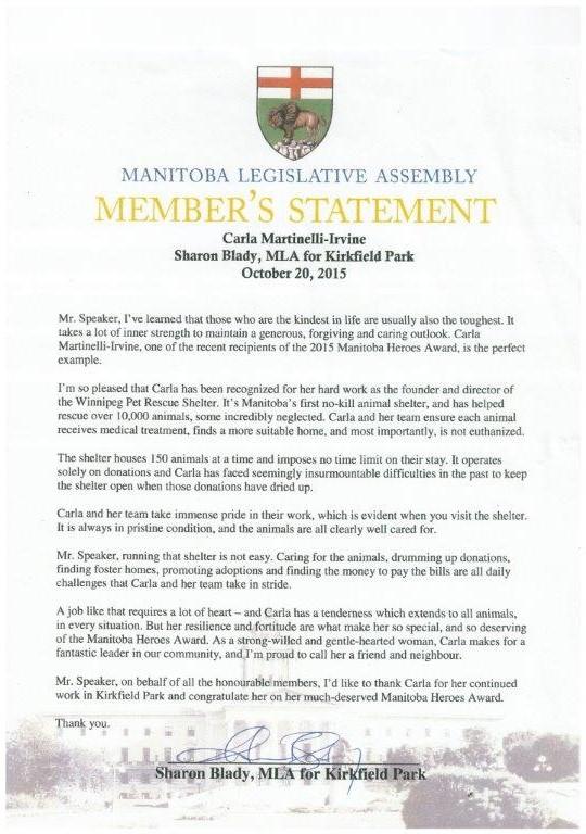 Proud moment for Winnipeg Pet Rescue Shelter