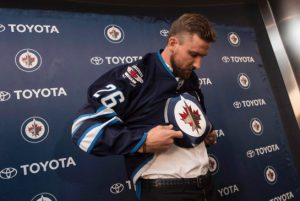 PHOTO BY DAVID LIPNOWSKI / FOR THE CANADIAN PRESS Blake Wheeler was named Captain of the Winnipeg Jets at a press conference Wednesday.