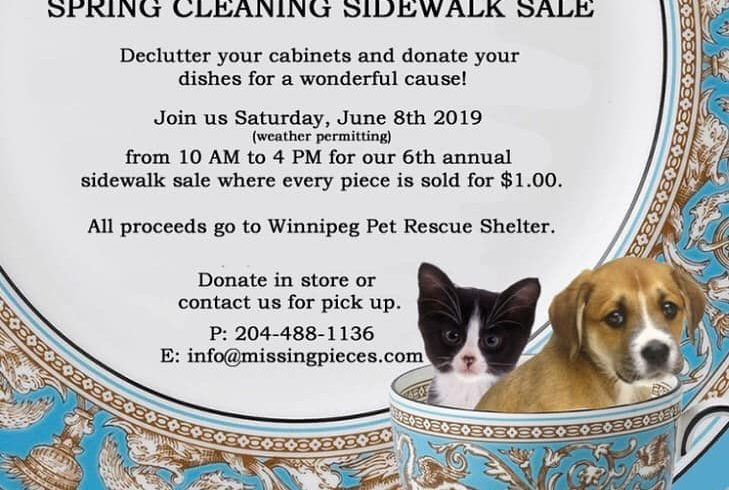 Missing Pieces Sidewalk Sale for the Winnipeg Pet Rescue Shelter